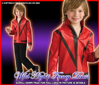 BOYS MICHAEL JACKSON RED THRILLER JACKET SM AGE 3-4